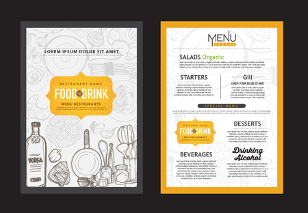 logos restaurantes: vector vintage diseño de la plantilla de los alimentos. folleto restaurante de menú. Vectores
