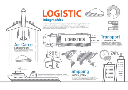 global logistics: vector logistic line infographic set.