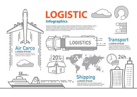 vector logistieke lijn infographic set. Stock Illustratie
