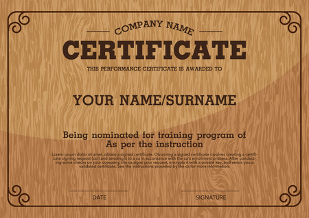 Vector Wood Backgroundperformance Certificate Template Royalty Free ...