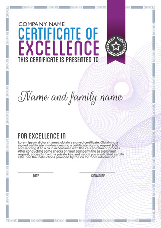 calligraphic design: vector design certificate. Illustration
