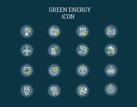 solar battery: Green energy icons on background. Illustration