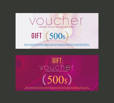 scroll border: gift voucher design template. vector Illustration