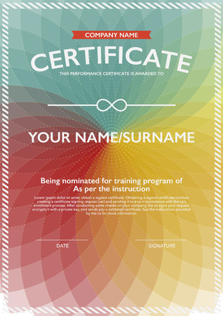 certificate  calligraphy: vector design certificate. Illustration