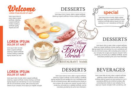 water colour vintage food design template. menu restaurant brochure.