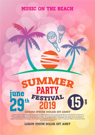 event party: poster summer party and brochure Illustration