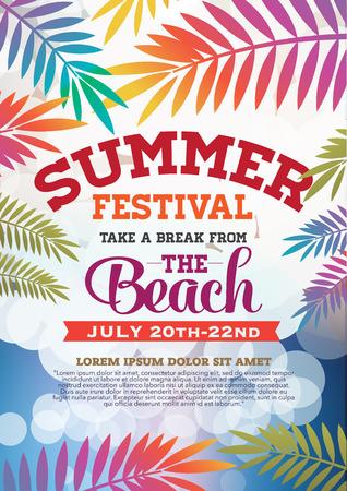 frutas tropicales: fiesta de verano del cartel y el folleto