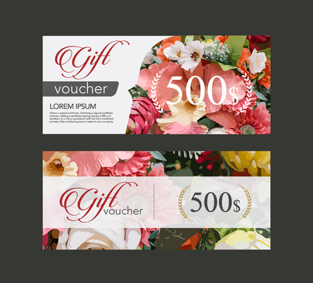voucher template flowers on paper in the form of watercolor techniques .
