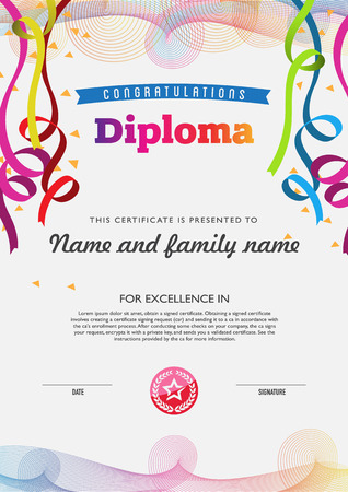 Diploma color full template and chart borders 免版税图像 - 42471302