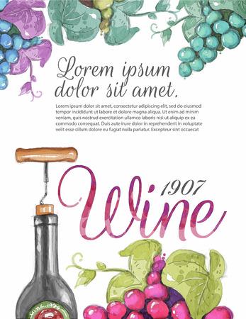bottle of wine: watercolour menu template, board, brochure, card