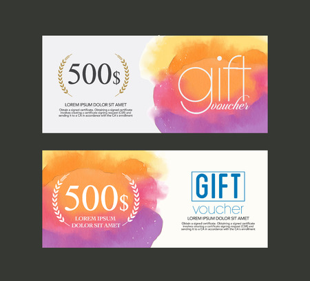 gift voucher watercolour . Vectores
