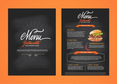 ristorante: Menu del ristorante, disegno del modello. Volantino cibo. Opuscolo Vettoriali