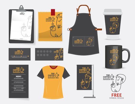 name: Vector coffee cafe restaurant set, T-Shirt, menu, namecard and free symbol design