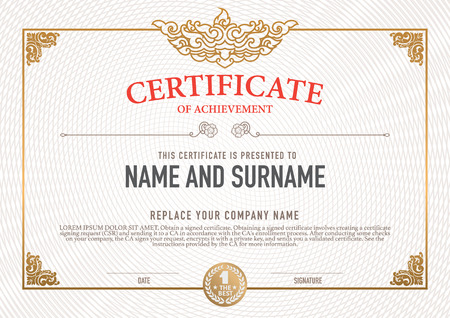 vintage document: Vector certificate template. Illustration