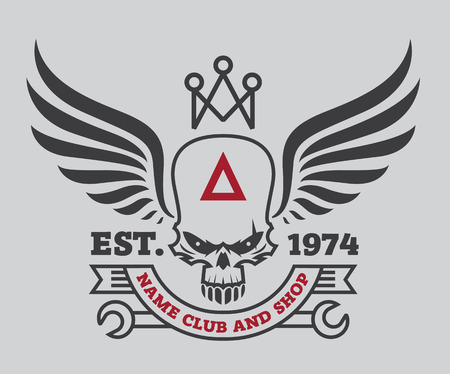 motor logo grafisch ontwerp. embleem, sticker, label, arm