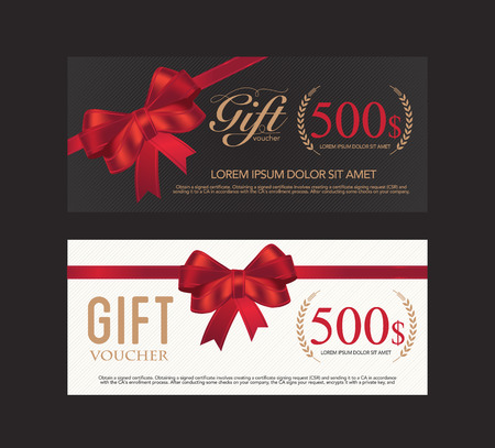 gift ribbon: Voucher, Gift certificate, Coupon template. Illustration