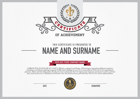 completion: Vector certificate template. Illustration