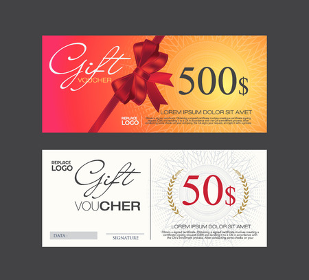 money border: Voucher, Gift certificate, Coupon template. Illustration