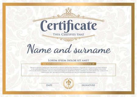 certificado: Certificado de dise�o de primera calidad Vectores