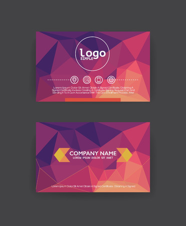 business card design: Vector polygon  business card template.Flat design