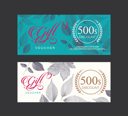 Voucher, Gift certificate, Coupon template. Illustration