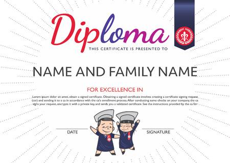 children background: Diploma template and background design. Illustration