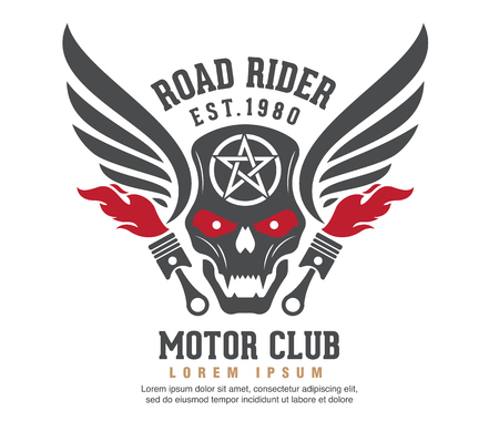 motorcycle rider: motor logo graphic design. logo, Sticker, label, arm Illustration