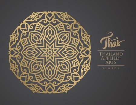 curvas: Elemento del arte tailandés para el diseño, la decoración de oro tradicional. Marco vintage ornamental para las invitaciones de boda y tarjetas de felicitación.