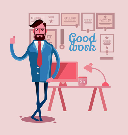 smart man: Man dressed in a smart business look modern with a certificate for outstanding behind . Illustration