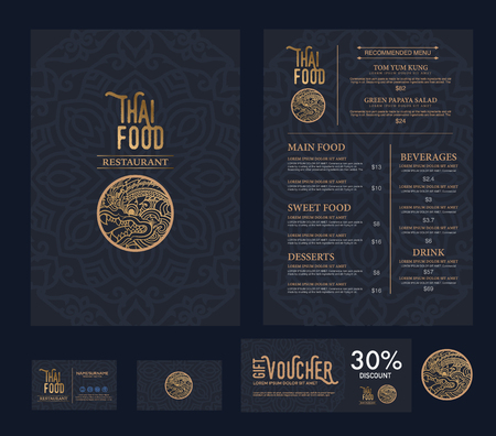 label vintage: vector thai food restaurant menu template.