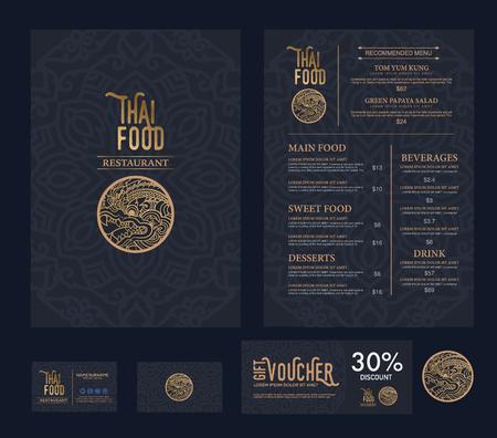 menu de postres: vector thai restaurante de comida plantilla de men�.