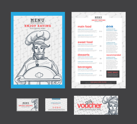 simbols: menu restaurant template. voucher, name card.