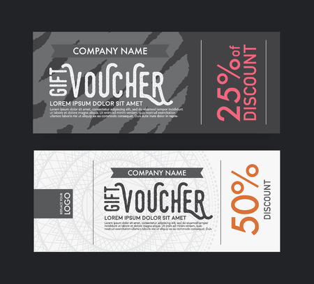 gift ribbon: modern vector gift voucher template. Illustration