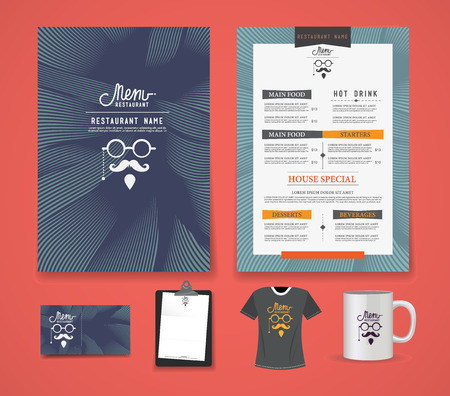 Restaurant Menus template, Business cards, shirts, coffee mugs, letterhead. 矢量图像