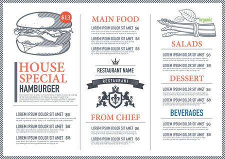 speisekarte: Hipster Restaurant Menü-Design Illustration