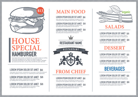 food menu: Hipster restaurant menu design