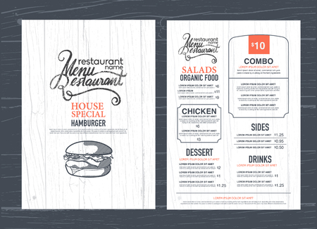 Diseño del menú del restaurante de la vendimia y textura de madera de fondo.