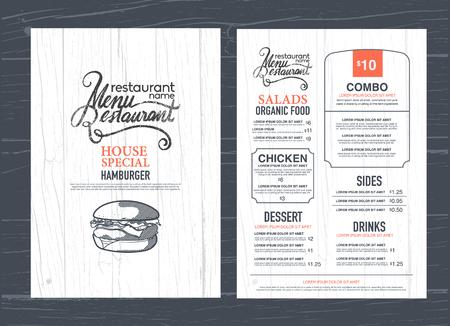 restaurante: Projeto do menu do restaurante do vintage e textura de madeira fundo. Ilustração