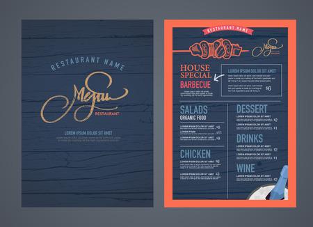 mariscos: Diseño del menú del restaurante retro y textura de madera de fondo.