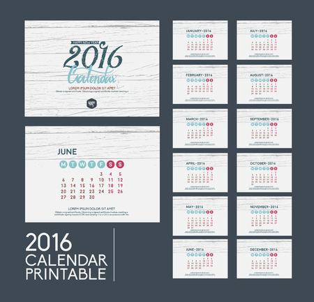 calendario noviembre: vendimia printabel 2016 calendario establecido de 12 meses vector plantilla de diseño.