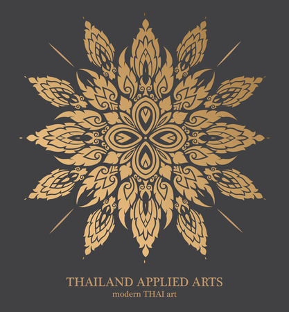 islamic pattern: Thai art element for design, Traditional gold decor. Ornamental vintage frame for wedding invitations and greeting cards.