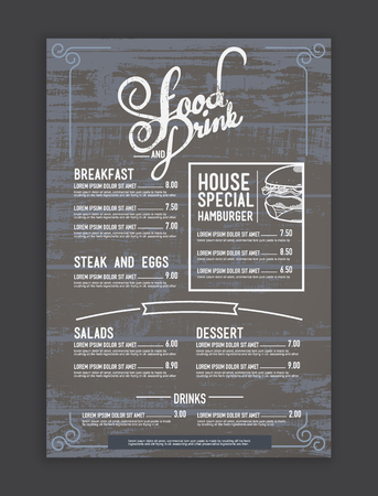 vintage mix hipster menu restaurant template and wood texture background.