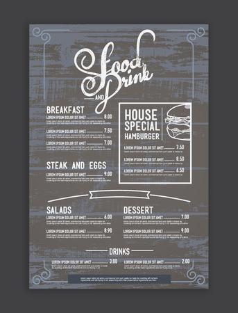 marco madera: vendimia inconformista mezcla plantilla de restaurante de menú y la textura de madera de fondo. Vectores