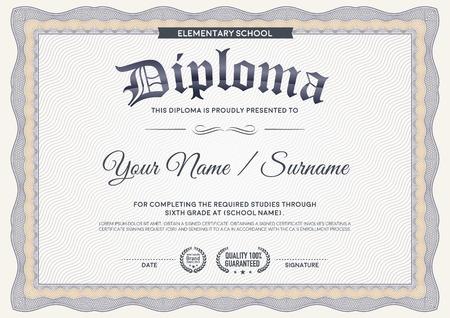 Diploma guilloche certificate template.