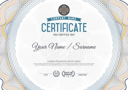 guilloche: Certificate guilloche certificate template. Illustration