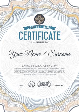 success security: Certificate guilloche certificate template. Illustration