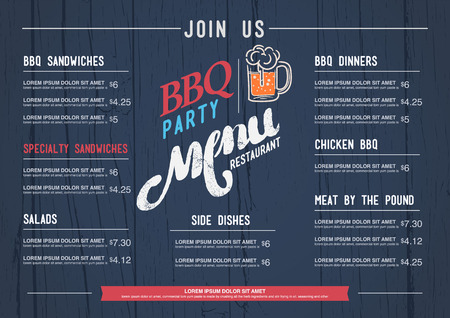 BBQ  menu restaurant template and wood texture background. 向量圖像
