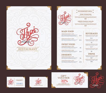 menu de postres: vector thai restaurante de comida plantilla de menú.
