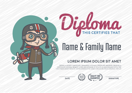 paper airplane: Diploma template and background design. Illustration