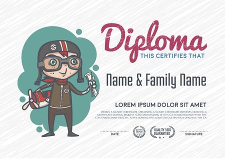 diploma: Modelo del diploma y el diseño de fondo.
